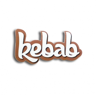 Kebab - Wood effect 3D letters sign